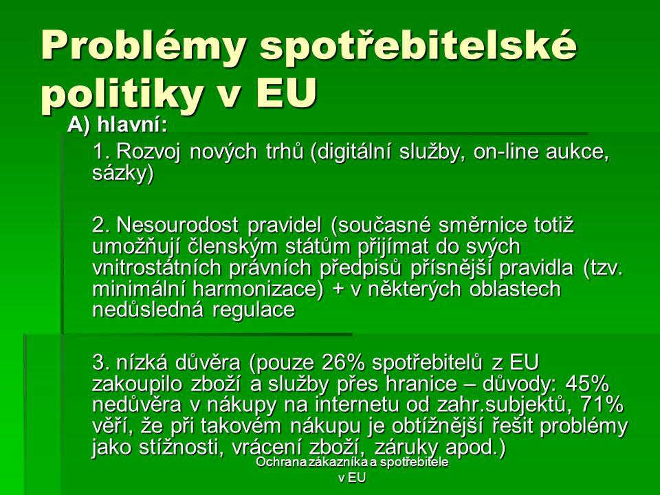 Ochrana zákazníka a spotřebitele v EU Problémy spotřebitelské politiky v EU A) hlavní: 1. Rozvoj nových trhů (digitální služby, on-line aukce, sázky)