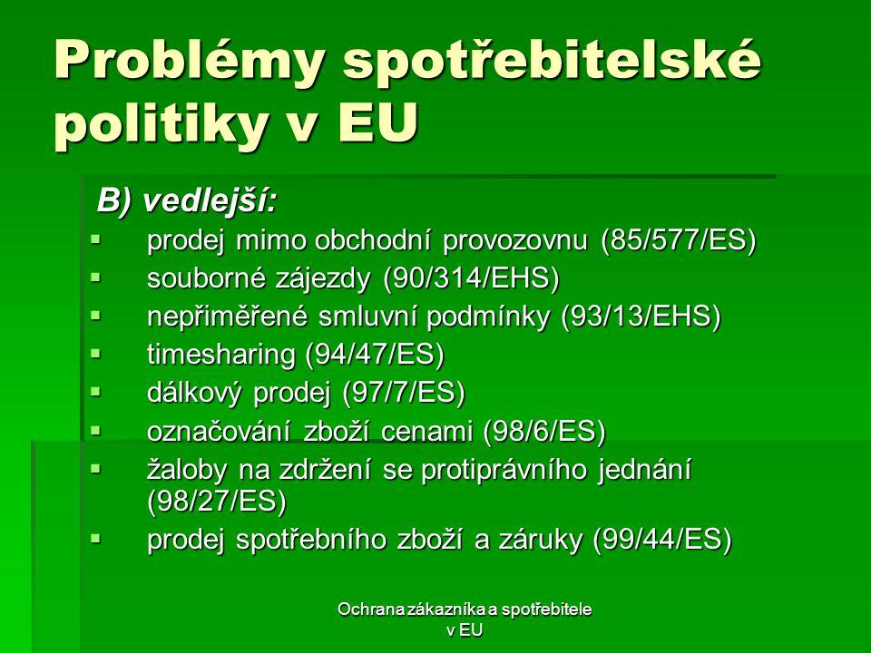 Ochrana zákazníka a spotřebitele v EU Problémy spotřebitelské politiky v EU  prodej mimo obchodní provozovnu (85/577/ES)  souborné zájezdy (90/314/E