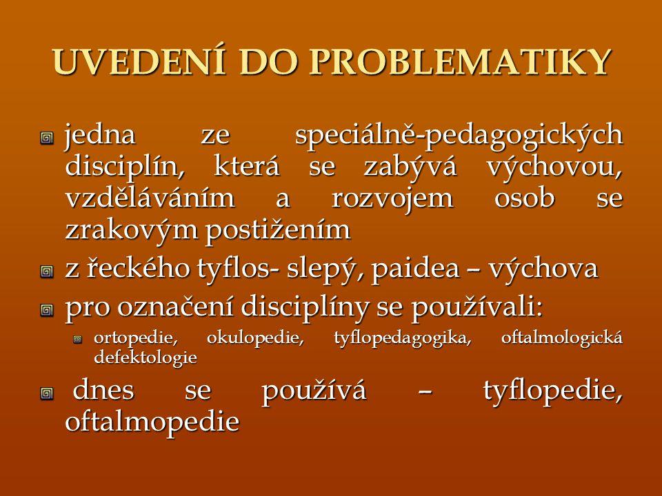 UVEDENÍ DO PROBLEMATIKY jedna ze speciálně-pedagogických disciplín, která se zabývá výchovou, vzděláváním a rozvojem osob se zrakovým postižením z řec