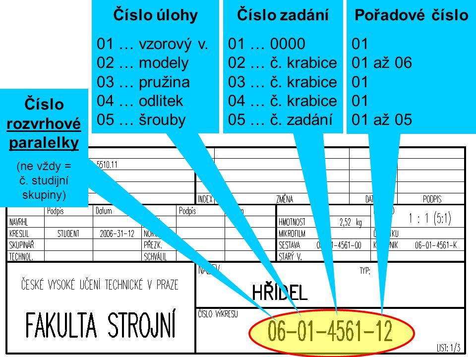 Číslo rozvrhové paralelky (ne vždy = č. studijní skupiny) Číslo úlohy 01 … vzorový v. 02 … modely 03 … pružina 04 … odlitek 05 … šrouby Číslo zadání 0