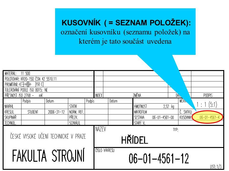 KUSOVNÍK ( = SEZNAM POLOŽEK): označení kusovníku (seznamu položek) na kterém je tato součást uvedena