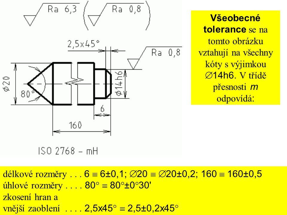 Všeobecné tolerance se na tomto obrázku vztahují na všechny kóty s výjimkou  14h6. V třídě přesnosti m odpovídá : délkové rozměry... 6  6±0,1;  20