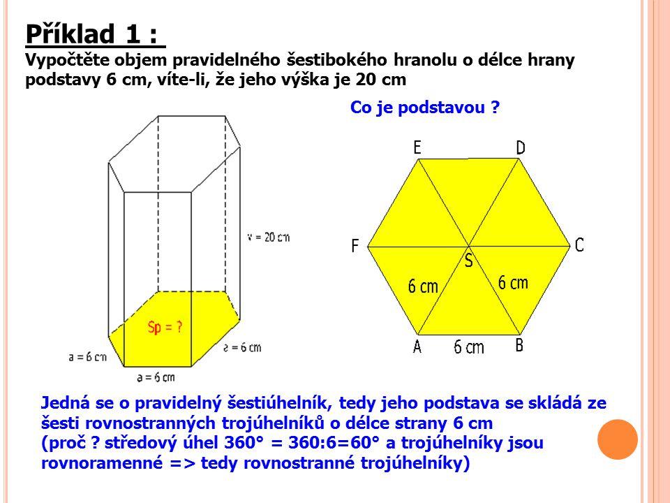 Příklad 1 : Vypočtěte objem pravidelného šestibokého hranolu o délce hrany podstavy 6 cm, víte-li, že jeho výška je 20 cm Jedná se o pravidelný šestiú