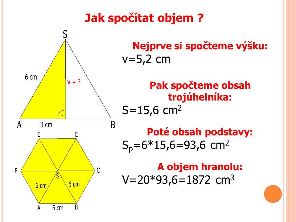 Jak spočítat objem ? Nejprve si spočteme výšku: v=5,2 cm Pak spočteme obsah trojúhelníka: S=15,6 cm 2 Poté obsah podstavy: S p =6*15,6=93,6 cm 2 A obj