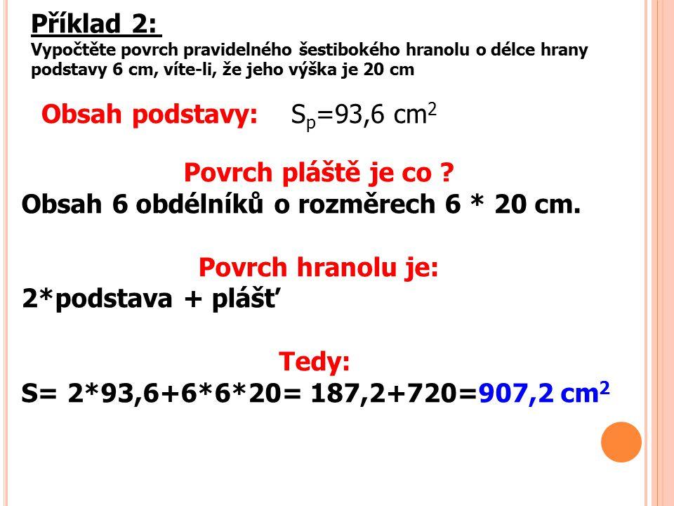 Příklad 2: Vypočtěte povrch pravidelného šestibokého hranolu o délce hrany podstavy 6 cm, víte-li, že jeho výška je 20 cm Obsah podstavy: S p =93,6 cm