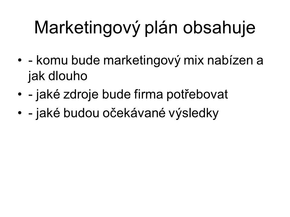 Marketingový plán obsahuje - komu bude marketingový mix nabízen a jak dlouho - jaké zdroje bude firma potřebovat - jaké budou očekávané výsledky