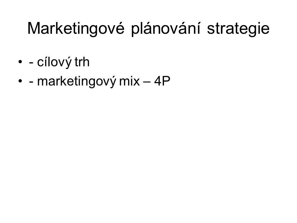 Marketingové plánování strategie - cílový trh - marketingový mix – 4P