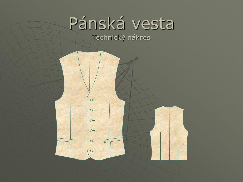 Pánská vesta Technický nákres