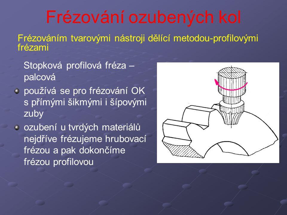 Frézování ozubených kol Stopková profilová fréza – palcová Výhody: nevyžadují velký výběh nástroje z materiálu jako frézy kotoučové.