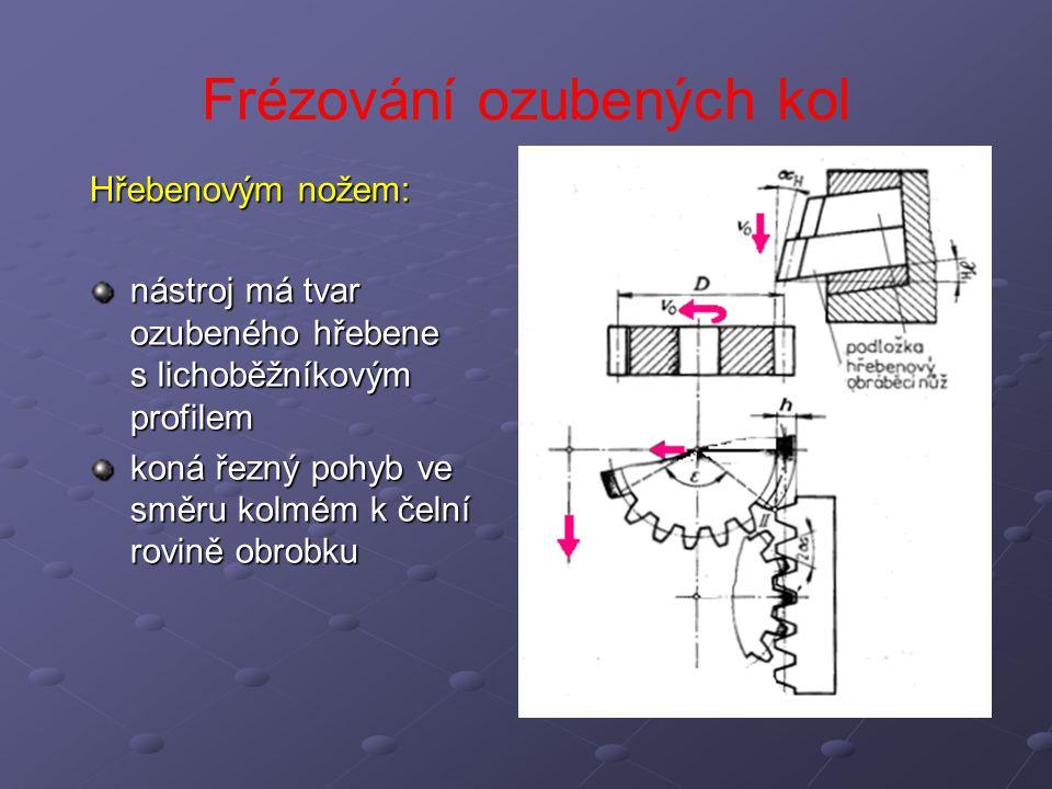 Frézování ozubených kol Kotoučovým nožem Kotoučovým nožem princip je založen na odvalování dvou ozubených kol po valivých kružnicích nástroj je v podstatě ozubeným kolem s řeznými úhly