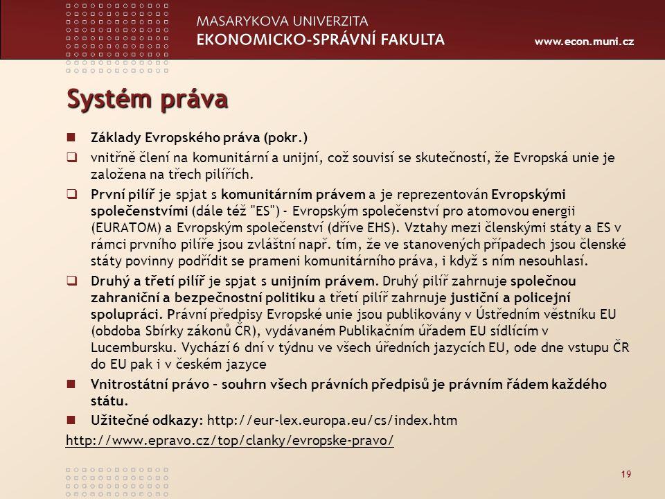 www.econ.muni.cz Systém práva Základy Evropského práva (pokr.)  vnitřně člení na komunitární a unijní, což souvisí se skutečností, že Evropská unie j