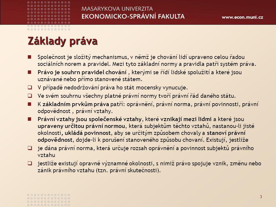 www.econ.muni.cz Základy práva Společnost je složitý mechanismus, v němž je chování lidí upraveno celou řadou sociálních norem a pravidel. Mezi tyto z