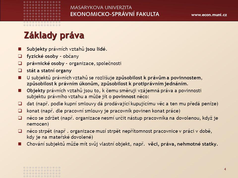 www.econ.muni.cz Základy práva Subjekty právních vztahů jsou lidé.  fyzické osoby – občany  právnické osoby – organizace, společnosti  stát a statn