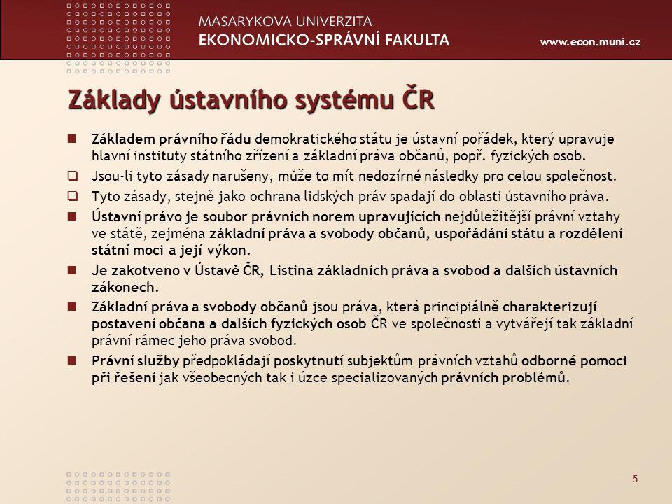 www.econ.muni.cz Základy ústavního systému ČR Základem právního řádu demokratického státu je ústavní pořádek, prvotním pramenem kterého je Ústava.