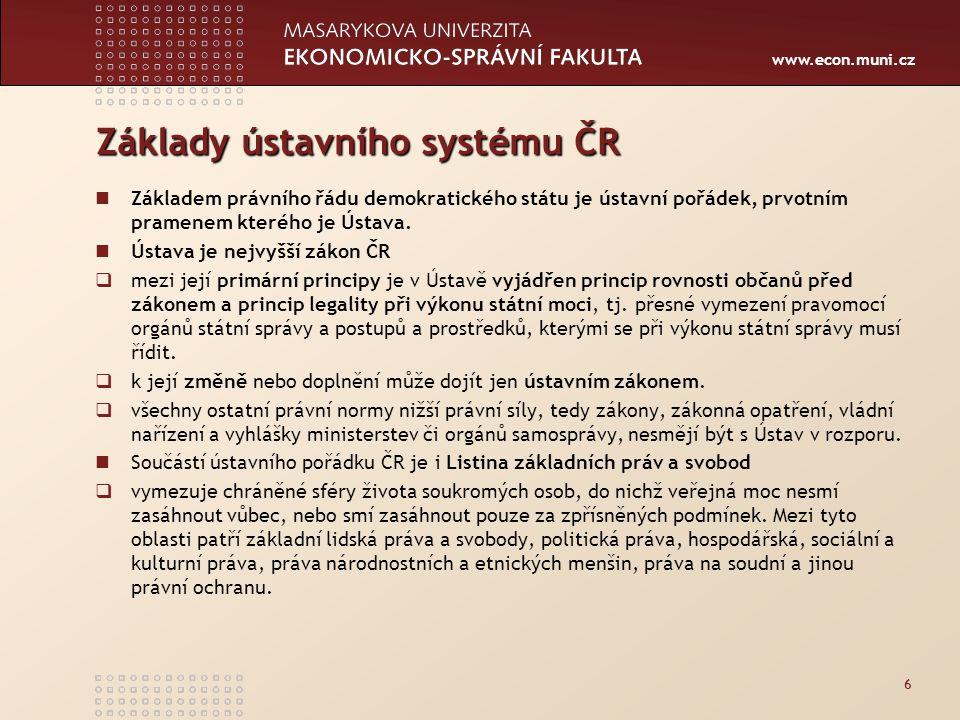 www.econ.muni.cz Základy ústavního systému ČR Základem právního řádu demokratického státu je ústavní pořádek, prvotním pramenem kterého je Ústava. Úst