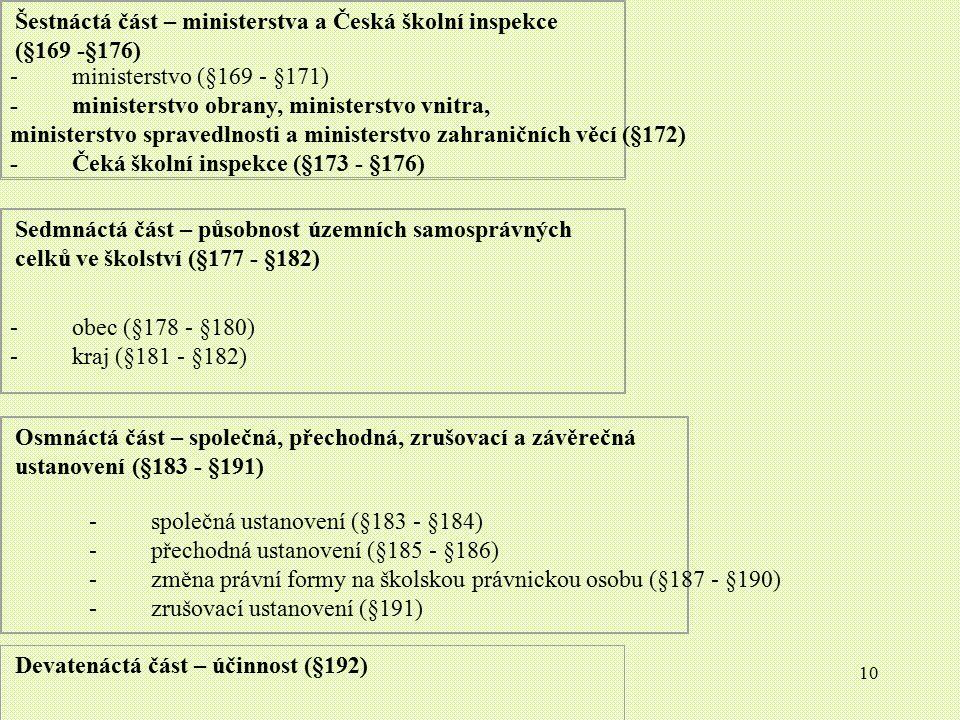 10 Šestnáctá část – ministerstva a Česká školní inspekce (§169 -§176) - ministerstvo (§169 - §171) - ministerstvo obrany, ministerstvo vnitra, ministe