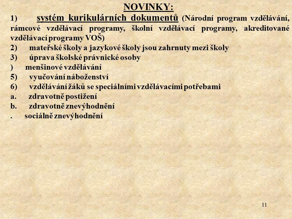 11 NOVINKY: 1) systém kurikulárních dokumentů (Národní program vzdělávání, rámcové vzdělávací programy, školní vzdělávací programy, akreditované vzděl