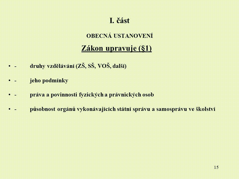 15 I. část OBECNÁ USTANOVENÍ Zákon upravuje (§1) - druhy vzdělávání (ZŠ, SŠ, VOŠ, další) - jeho podmínky - práva a povinnosti fyzických a právnických
