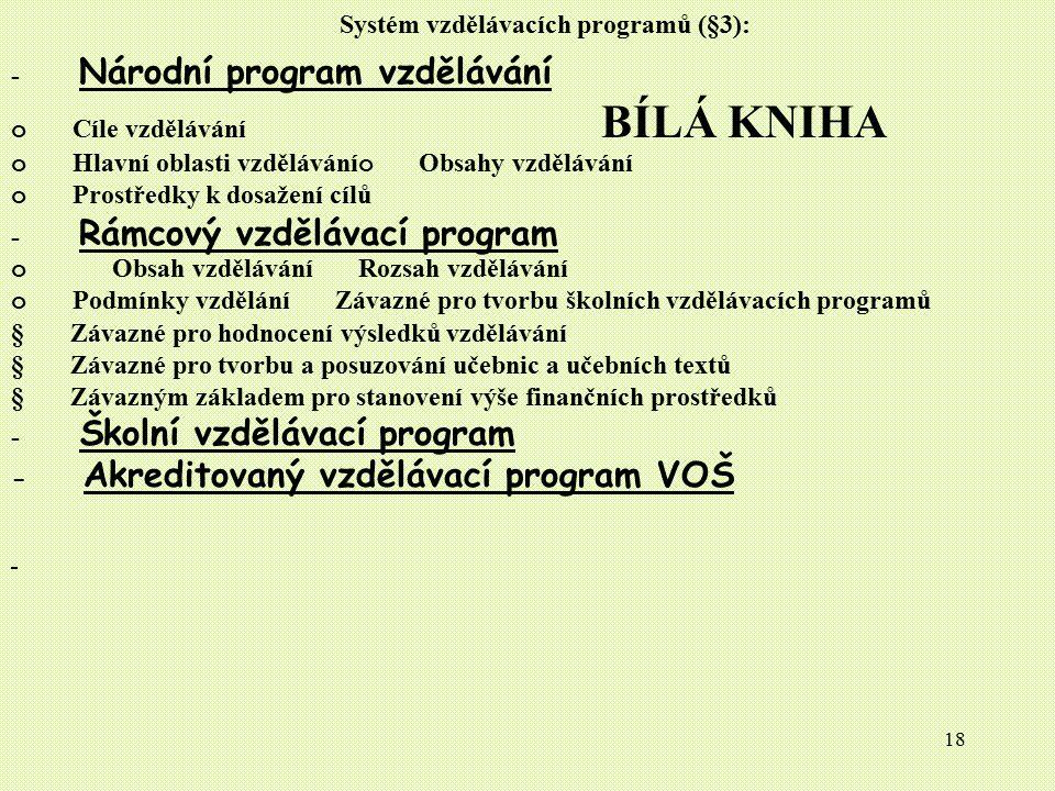 18 Systém vzdělávacích programů (§3): - Národní program vzdělávání o Cíle vzdělávání BÍLÁ KNIHA o Hlavní oblasti vzdělávání o Obsahy vzdělávání o Pros