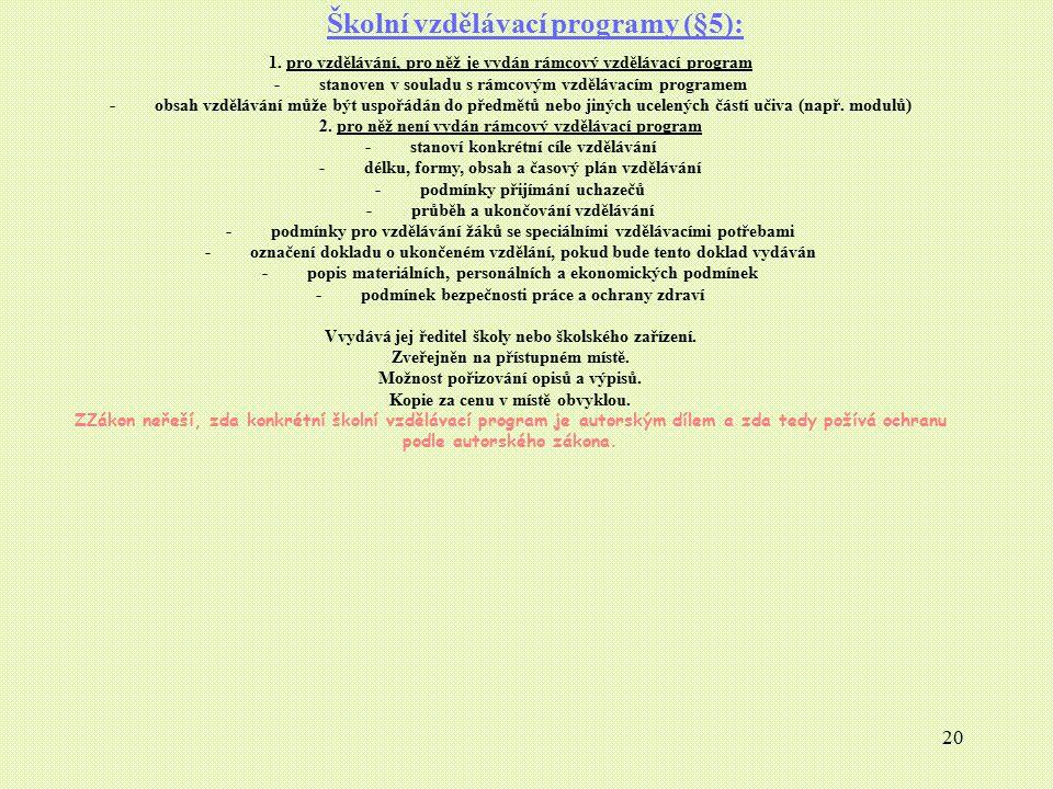 20 Školní vzdělávací programy (§5): 1. pro vzdělávání, pro něž je vydán rámcový vzdělávací program - stanoven v souladu s rámcovým vzdělávacím program