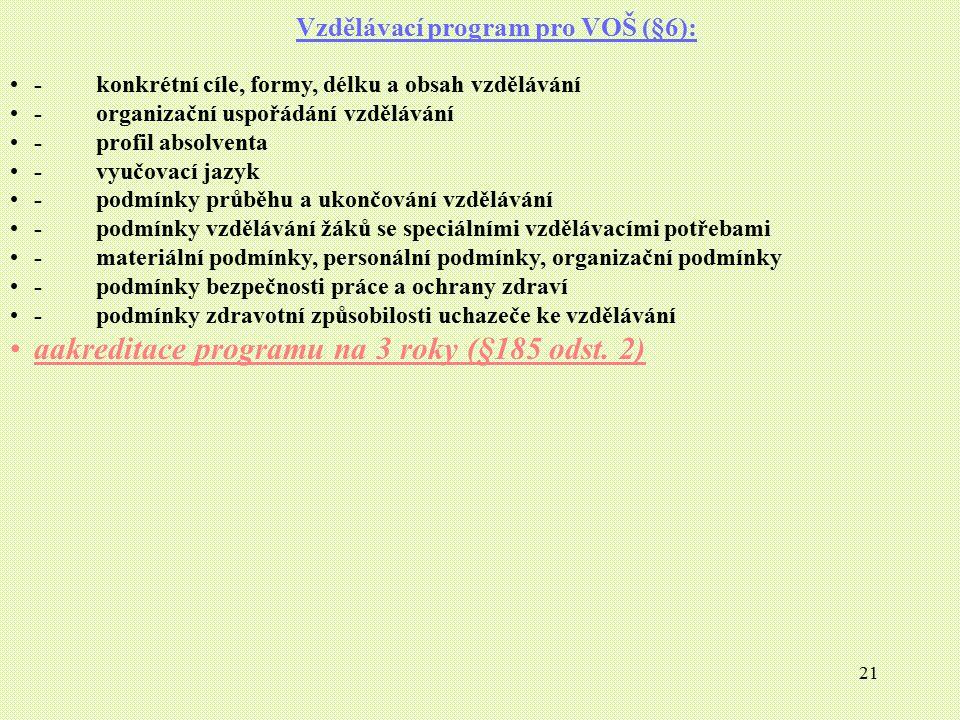 21 Vzdělávací program pro VOŠ (§6): - konkrétní cíle, formy, délku a obsah vzdělávání - organizační uspořádání vzdělávání - profil absolventa - vyučov