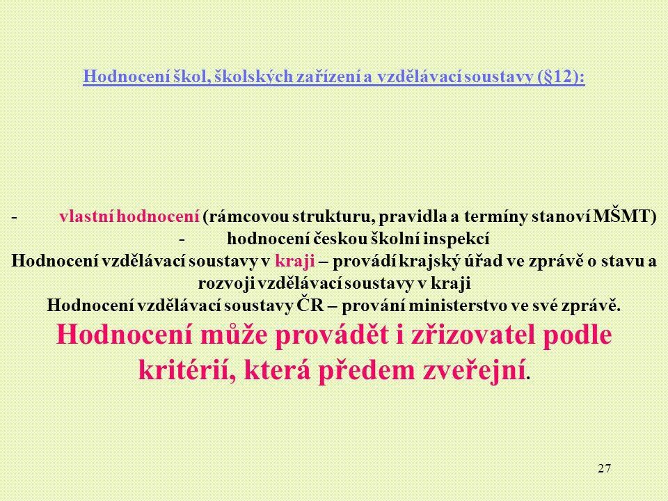 27 Hodnocení škol, školských zařízení a vzdělávací soustavy (§12): - vlastní hodnocení (rámcovou strukturu, pravidla a termíny stanoví MŠMT) - hodnoce