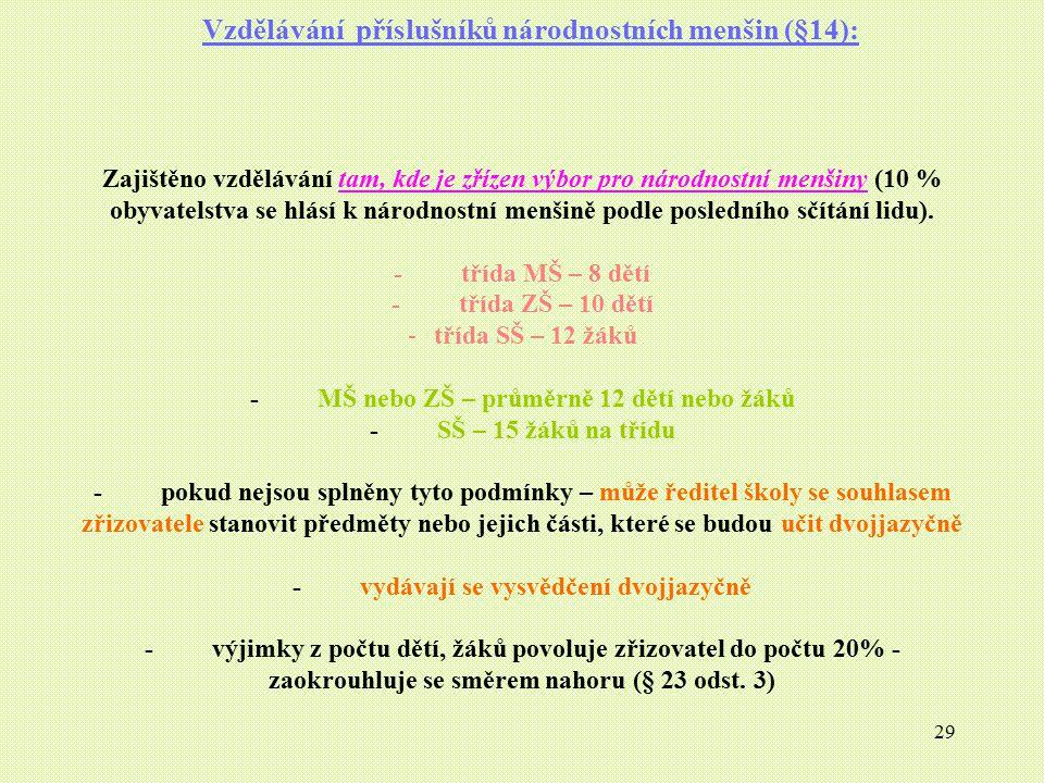 29 Vzdělávání příslušníků národnostních menšin (§14): Zajištěno vzdělávání tam, kde je zřízen výbor pro národnostní menšiny (10 % obyvatelstva se hlás