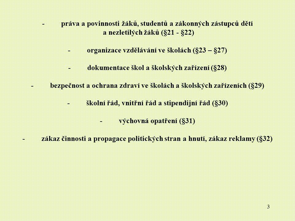3 - práva a povinnosti žáků, studentů a zákonných zástupců dětí a nezletilých žáků (§21 - §22) - organizace vzdělávání ve školách (§23 – §27) - dokume