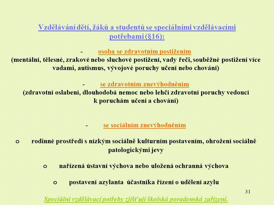 31 Vzdělávání dětí, žáků a studentů se speciálními vzdělávacími potřebami (§16): - osoba se zdravotním postižením (mentální, tělesné, zrakové nebo slu