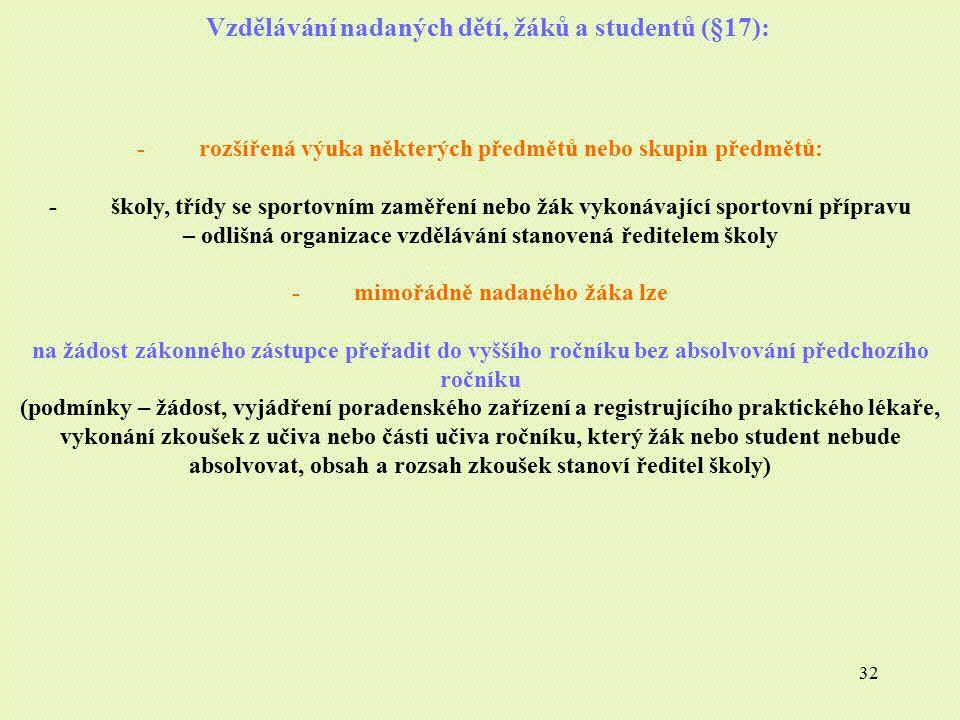 32 Vzdělávání nadaných dětí, žáků a studentů (§17): - rozšířená výuka některých předmětů nebo skupin předmětů: - školy, třídy se sportovním zaměření n