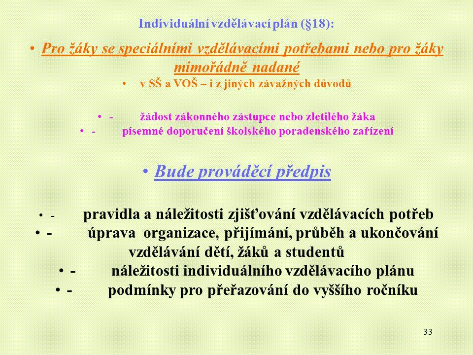 33 Individuální vzdělávací plán (§18): Pro žáky se speciálními vzdělávacími potřebami nebo pro žáky mimořádně nadané v SŠ a VOŠ – i z jiných závažných