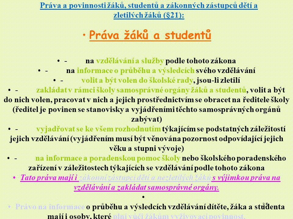 35 Práva a povinnosti žáků, studentů a zákonných zástupců dětí a zletilých žáků (§21): Práva žáků a studentů - na vzdělávání a služby podle tohoto zák