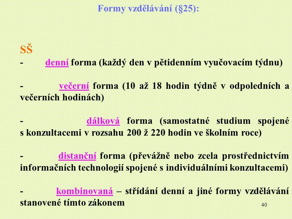 40 Formy vzdělávání (§25): SŠ - denní forma (každý den v pětidenním vyučovacím týdnu) - večerní forma (10 až 18 hodin týdně v odpoledních a večerních