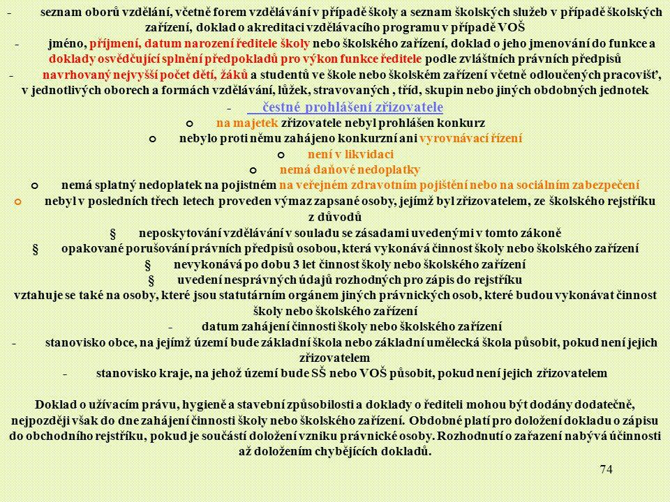 74 - seznam oborů vzdělání, včetně forem vzdělávání v případě školy a seznam školských služeb v případě školských zařízení, doklad o akreditaci vzdělá