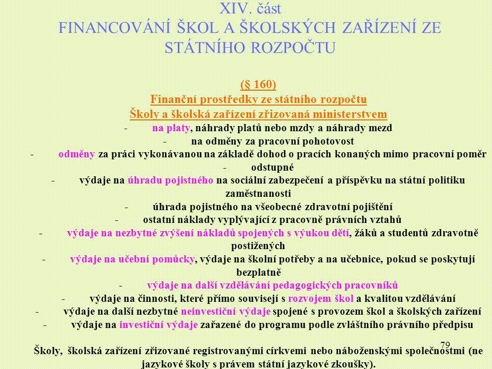 79 XIV. část FINANCOVÁNÍ ŠKOL A ŠKOLSKÝCH ZAŘÍZENÍ ZE STÁTNÍHO ROZPOČTU (§ 160) Finanční prostředky ze státního rozpočtu Školy a školská zařízení zřiz