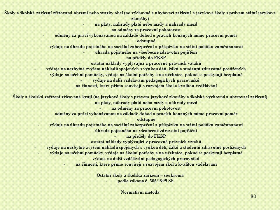80 Školy a školská zařízení zřizovaná obcemi nebo svazky obcí (ne výchovné a ubytovací zařízení a jazykové školy s právem státní jazykové zkoušky) - n