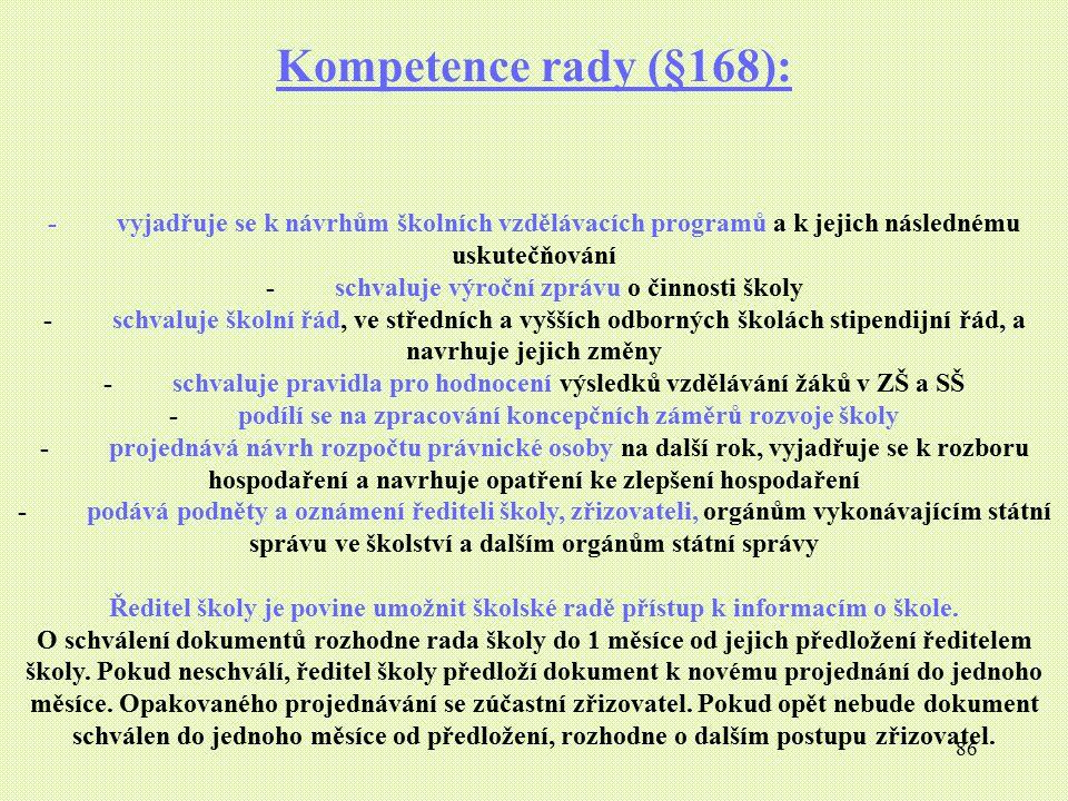 86 Kompetence rady (§168): - vyjadřuje se k návrhům školních vzdělávacích programů a k jejich následnému uskutečňování - schvaluje výroční zprávu o či