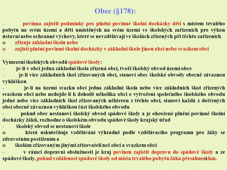88 Obec (§178): - povinna zajistit podmínky pro plnění povinné školní docházky dětí s místem trvalého pobytu na svém území a dětí umístěných na svém ú