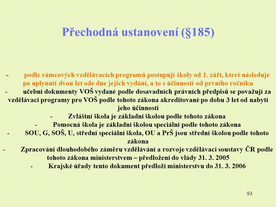 93 Přechodná ustanovení (§185) - podle rámcových vzdělávacích programů postupují školy od 1. září, které následuje po uplynutí dvou let ode dne jejich