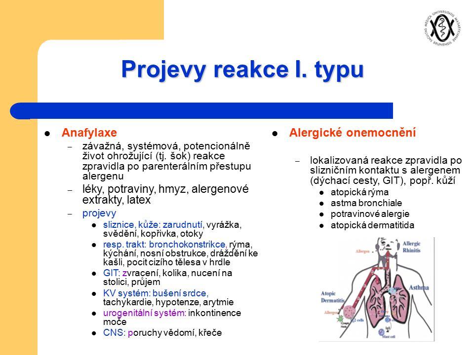 Projevy reakce I. typu Anafylaxe – závažná, systémová, potencionálně život ohrožující (tj. šok) reakce zpravidla po parenterálním přestupu alergenu –