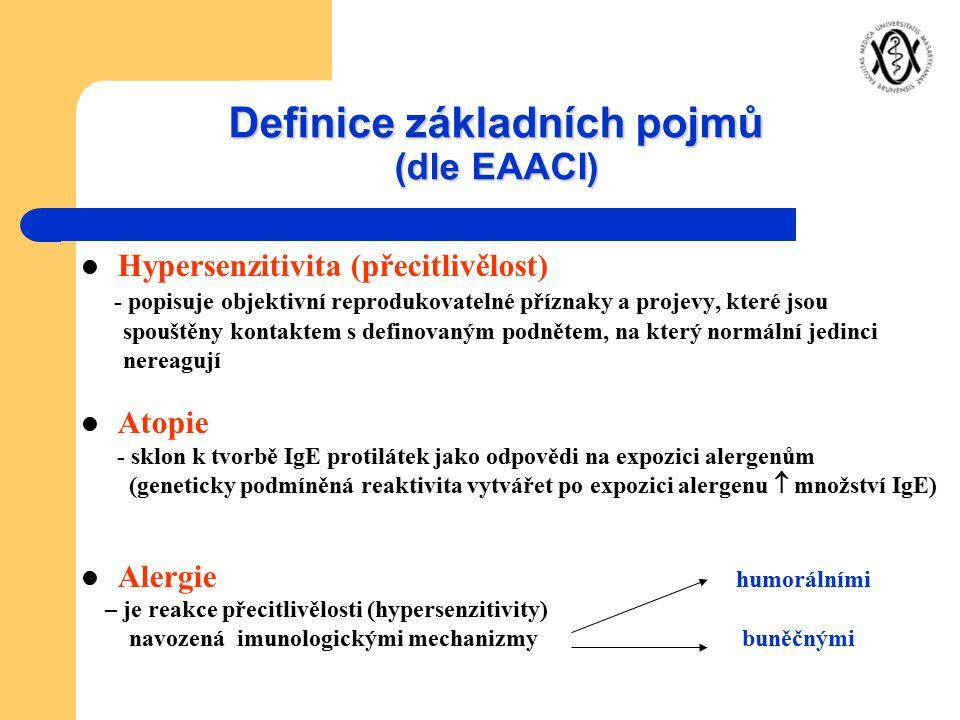 Definice základních pojmů (dle EAACI) Hypersenzitivita (přecitlivělost) - popisuje objektivní reprodukovatelné příznaky a projevy, které jsou spouštěn