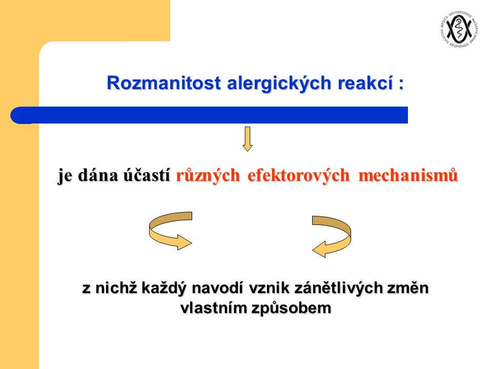 Rozmanitost alergických reakcí : je dána účastí různých efektorových mechanismů je dána účastí různých efektorových mechanismů z nichž každý navodí vz
