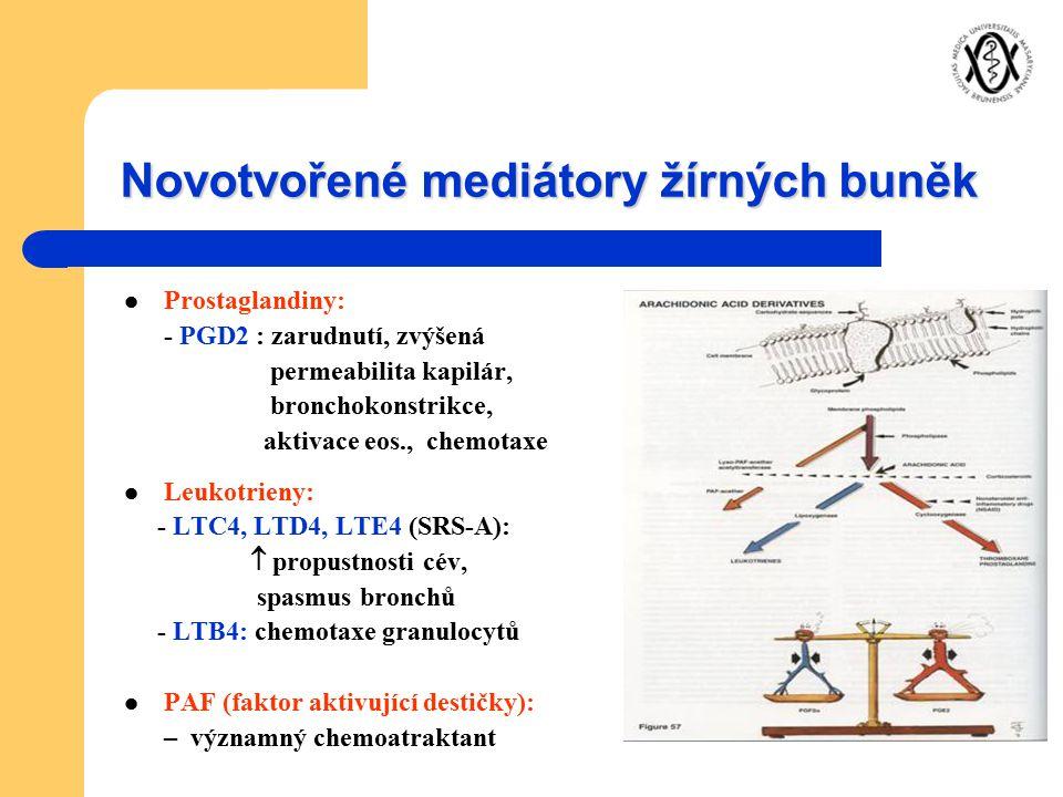 Novotvořené mediátory žírných buněk Prostaglandiny: - PGD2 : zarudnutí, zvýšená permeabilita kapilár, bronchokonstrikce, aktivace eos., chemotaxe Leuk