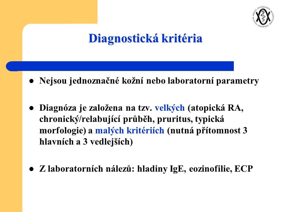 Nejsou jednoznačné kožní nebo laboratorní parametry Diagnóza je založena na tzv. velkých (atopická RA, chronický/relabující průběh, pruritus, typická