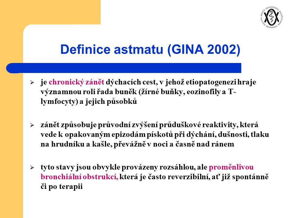 Definice astmatu (GINA 2002)  je chronický zánět dýchacích cest, v jehož etiopatogenezi hraje významnou roli řada buněk (žírné buňky, eozinofily a T-