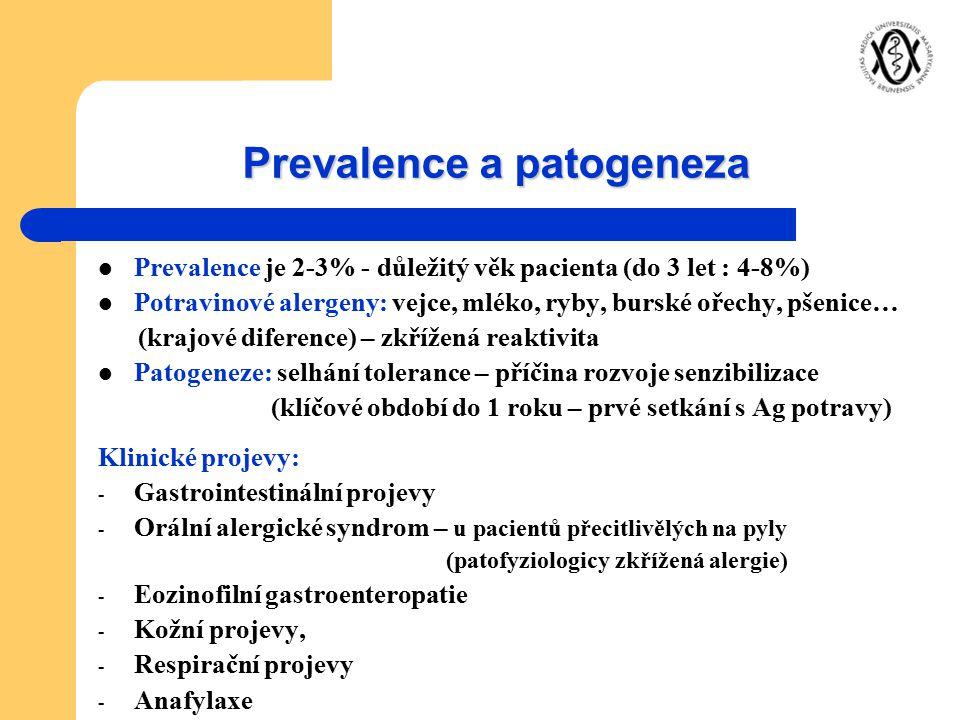 Prevalence a patogeneza Prevalence je 2-3% - důležitý věk pacienta (do 3 let : 4-8%) Potravinové alergeny: vejce, mléko, ryby, burské ořechy, pšenice…