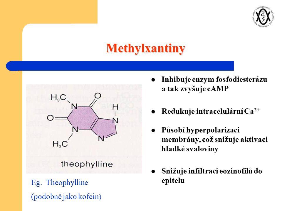 Inhibuje enzym fosfodiesterázu a tak zvyšuje cAMP Redukuje intracelulární Ca 2+ Působí hyperpolarizaci membrány, což snižuje aktivaci hladké svaloviny