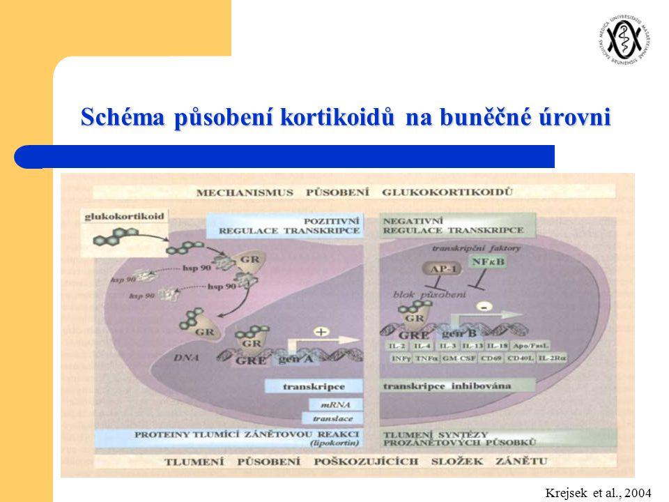 Schéma působení kortikoidů na buněčné úrovni Krejsek et al., 2004