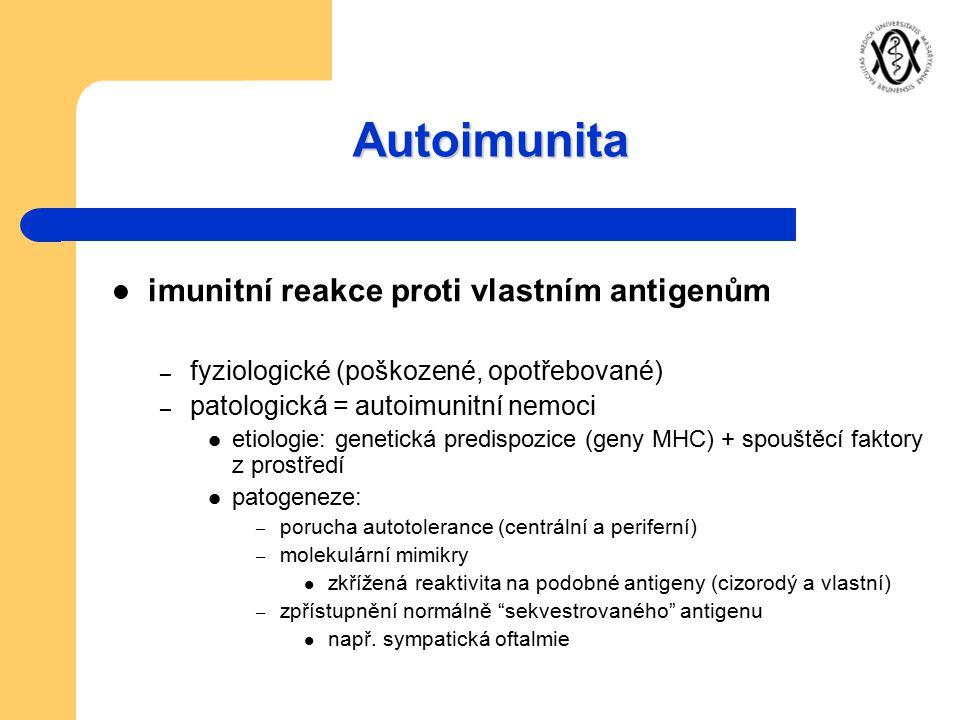 Autoimunita imunitní reakce proti vlastním antigenům – fyziologické (poškozené, opotřebované) – patologická = autoimunitní nemoci etiologie: genetická