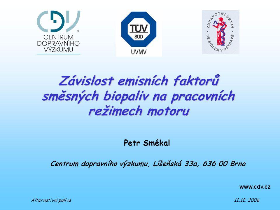 Petr Smékal www.cdv.cz Centrum dopravního výzkumu, Líšeňská 33a, 636 00 Brno Závislost emisních faktorů směsných biopaliv na pracovních režimech motoru Alternativní paliva 12.12.